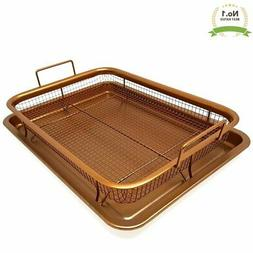 #1 Copper Oven Air Fryer Crisper Nonstick 2 Piece Tray With