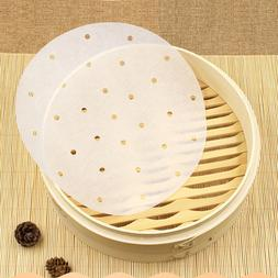 100Pcs Perforated Parchment Round Bamboo Steamer Paper Liner