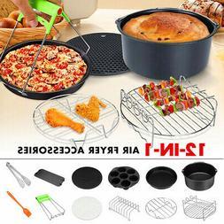 12PCS 7'' Air Fryer Accessories Set Chips Baking Pizza Pan F