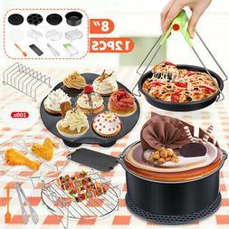 12Pcs 8'' Air Fryer Accessories Set Cake Barrel Pizza Pan Fo