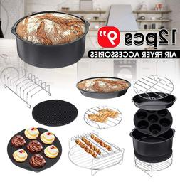 12Pcs 8'' Air Fryer Accessories Set Pizza Pan Chips Baking F
