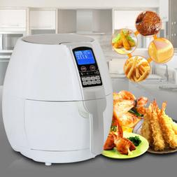 1500w White Electric Air Fryer 3.7qt with LCD Touch Display
