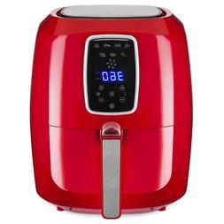 1800W Digital Non-Stick Red Air Fryer Appliance 5.5QT 7-in-1