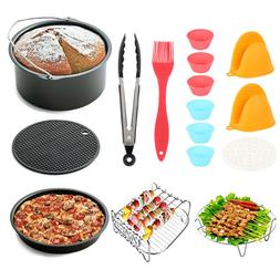 22PCS 8In Air Fryer Frying Cage Dish Baking Pan Rack Pizza T
