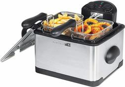 4 Quart Dual Deep Fryer with 3 Baskets Stainless Steel Silve