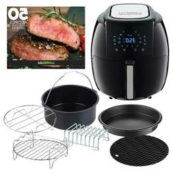 5.8 Qt. 8-in-1 Black Air Fryer with 6-Piece Accessory Set an