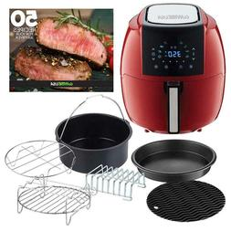 5.8 Qt. 8-in-1 Chili Red Air Fryer with 6-Piece Accessory Se