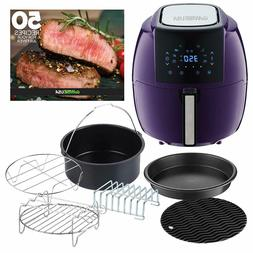 GoWISE USA 5.8 Qt. 8-in-1 Plum Air Fryer with 6-Piece Access