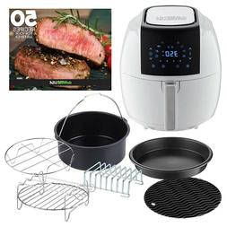 5.8 Qt. 8-in-1 White Air Fryer with 6-Piece Accessory Set an