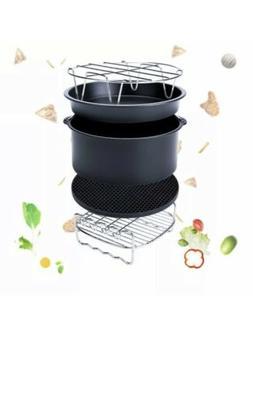 5 Pcs Set Air Fryer Frying Cage Dish Baking Pan Rack Pizza T