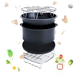 5 Pcs Set Air Fryer Frying Cage Dish Baking Pan Rack Pizza T