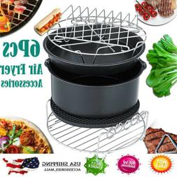 6Pc/Set Air Fryer Accessories Cage Dish Baking Pan Rack Pizz