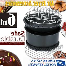 6Pcs 8'' Air Fryer Accessories Set Cake Barrel Pizza Pan For