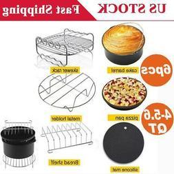 6Pcs Air Fryer Accessories Set Metal Chips Baking Basket Piz