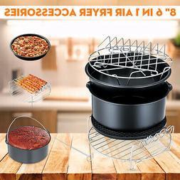6x 8in Air Fryer Accessories Set Chips Cake Pizza Pan Skewer
