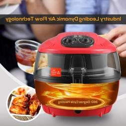 7.4QT 1400W Electric Oil-Less Red Air Fryer Timer and Temper