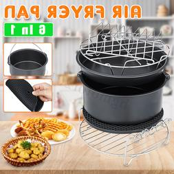 6Pcs 7'' Air Fryer Accessories Set Cake Barrel Pizza Pan For