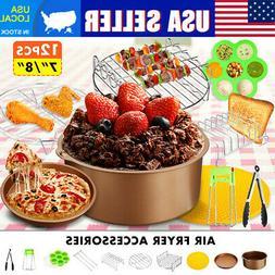 "7''/8"" Air Fryer Accessories Chips Baking 12Pcs Set Cake Piz"
