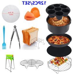12 Pcs 7'' Air Fryer Accessories Set Pizza BBQ Pan Chips Roa