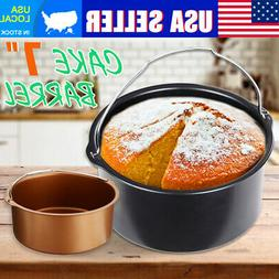 "7"" Air Fryer Non-Stick Cake Barrel Dish Baking Oven Pan Tray"