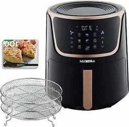 7 Qt. Black/Copper Air Fryer with Dehydrator, 3 Stackable Ra
