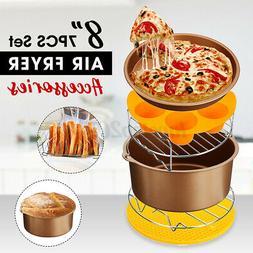 7PCS 8'' Air Fryer Accessories Baking Basket Pizza Pan Holde