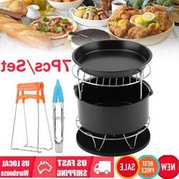 "7Pcs 8"" Air Fryer Accessories Set BBQ Pizza Dish Baking Pan"