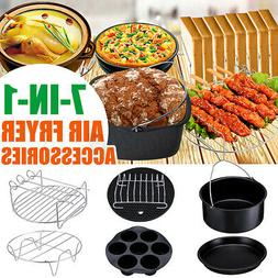 7Pcs 8'' Air Fryer Accessories Set Chips Baking Pizza Pan Ki