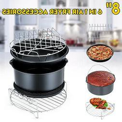 8'' 6Pcs Air Fryer Accessories Set Cake Baking Barrel Pizza