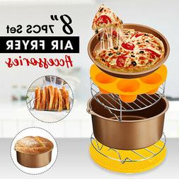8'' 7PCS Air Fryer Accessories Chips Baking Basket Pan Holde