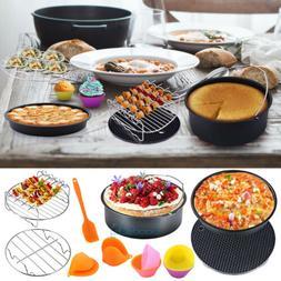 8PCS 8'' Air Fryer Accessories Baking Basket Pizza Pan Holde