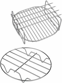 Air Fryer Rack 8in Double Layer with 4 Skewers Stainless Ste