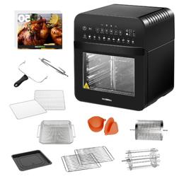 Black 1600-W 12.7 Qt Air Fryer Oven W/ Rotisserie Dehydrator