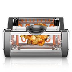 NutriChef Digital Countertop Rotisserie Oven -  Rotating Roa
