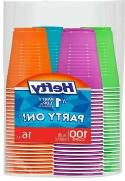 Hefty Disposable Plastic Cups in Assorted Colors - 16 Oz 100