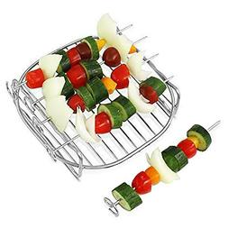 DIY Stainless Steel 2 Layer Grill Rack with 4 Skewer for Ele
