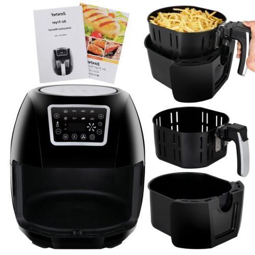 1700W Hot Air Fryer Family Size 5.8Qt 8-in-1 Recipe Book Tou
