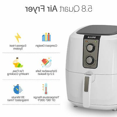 DELLA AirFryer 5.8-qt 1800watt Extra Large Fryer Rapid -White