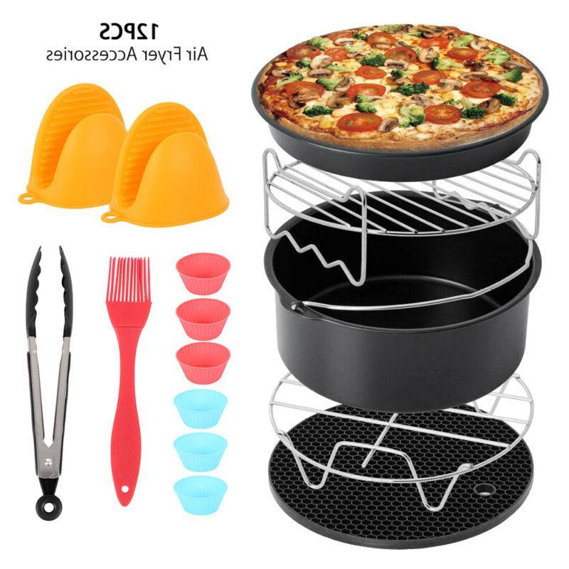 "12 pcs 8"" Air Fryer Accessories Chips Baking Basket Pizza Pa"