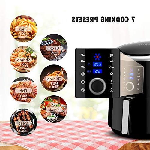OMORC Air 5.8QT Cooker Hot Circulation for Healthier Food, 7 Cooking Presets Heat Preservation Function LCD Screen