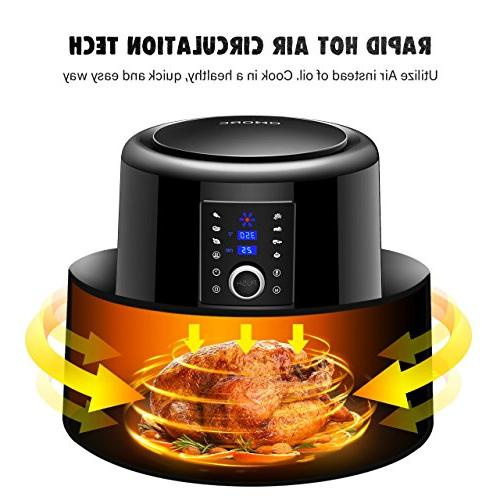 OMORC Fryer 5.8QT Airfryer Oven Oilless Cooker Circulation Healthier Food, Presets Function LCD Touch Screen