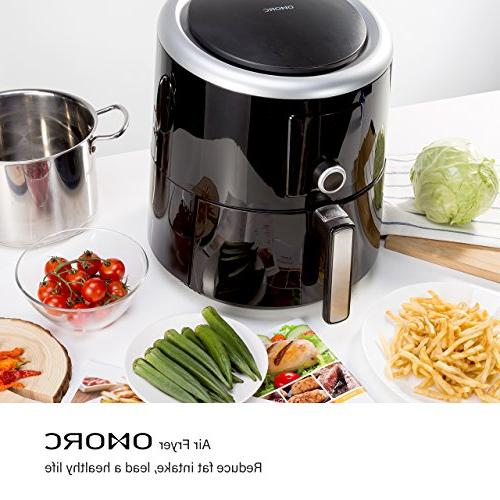 OMORC Air 5.8QT Airfryer Oven Cooker Hot Circulation Healthier 7 Cooking Presets and Preservation Function - LCD Screen