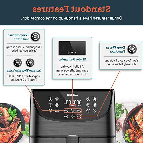 Oilless Cooker,11 Cooking Reminder,LED Basket,ETL/UL Certified,2-Year Warranty,1700W