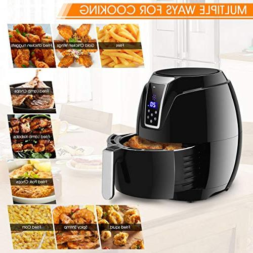 Costzon Fryer, 3.4 Healthy Oil Free Cooking, Electric Deep with LCD Temperature and Time Dishwasher Detachable Basket