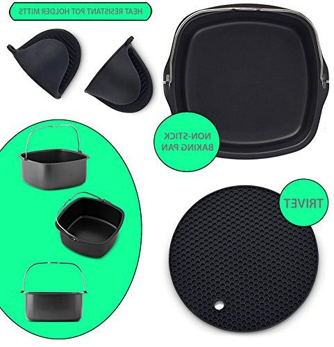 Air Fryer Non-Stick Baking Pan Fits GoWise USA, Power Cozyna, Avalon Premium Silicone Mitts & Silicone Trivet-Air Fryer