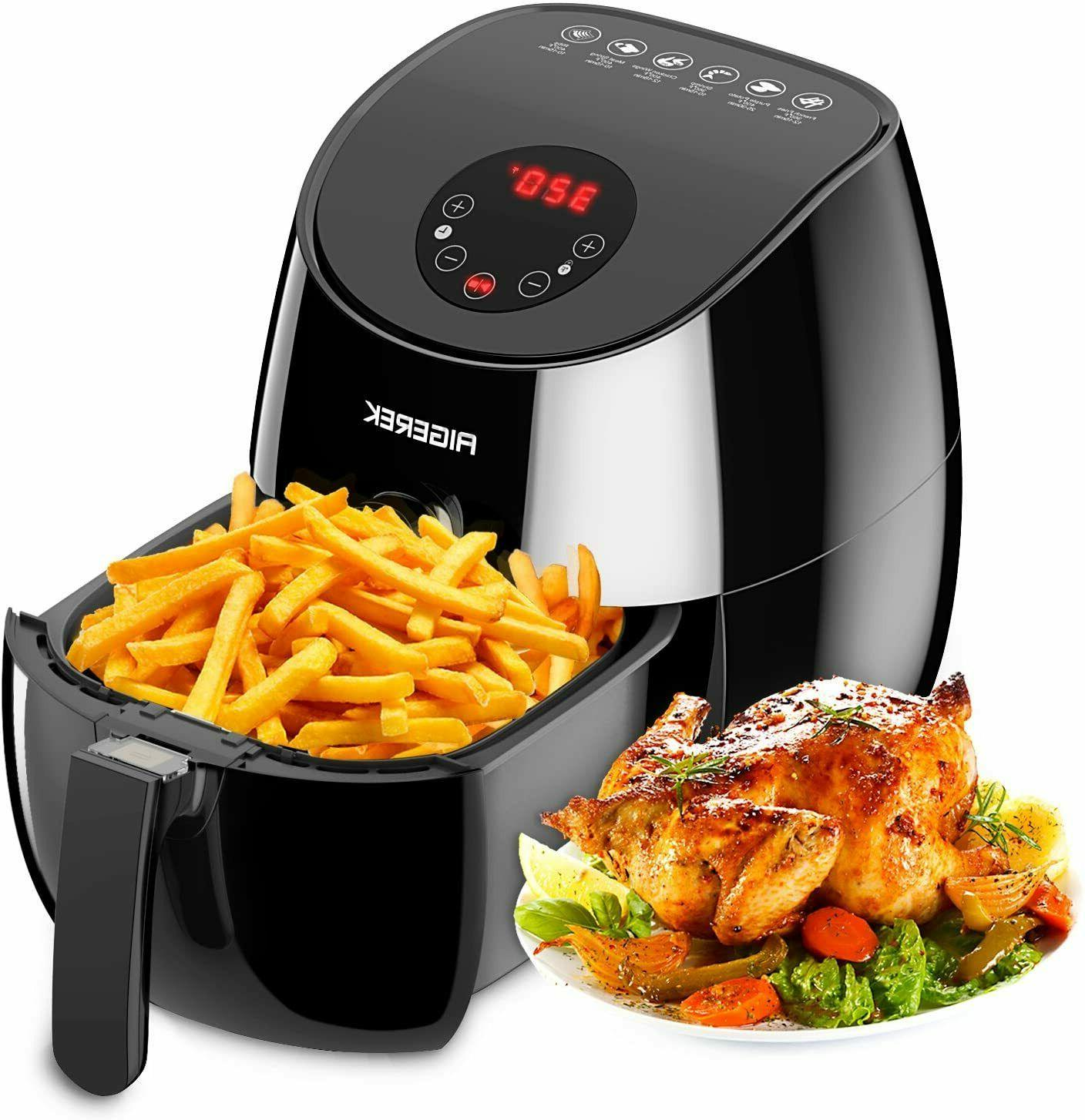6 Presets Air Fryer LED Touch Screen Technology, Timer,Tempe