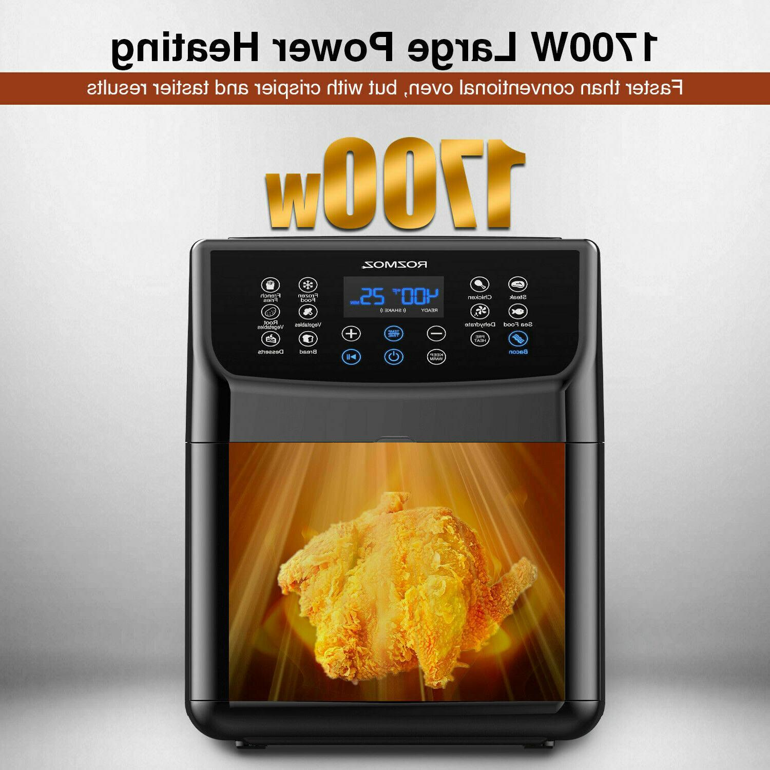 1700W Air Fryer 5.8QT Oilless Electric Oven LED Temp/Timer 8