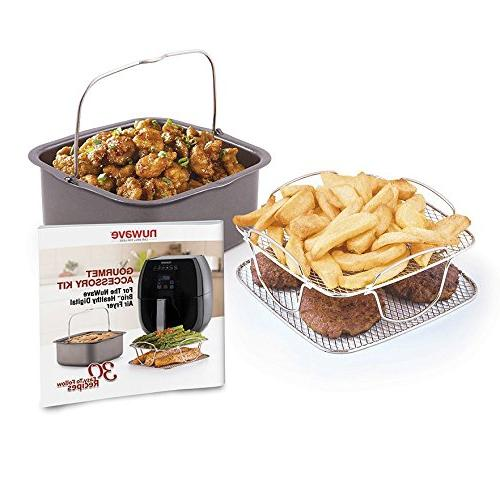 NuWave Brio 6 Quart Digital Air Black Air Fryer 3 Gourmet Accessory Kit 6 Quart