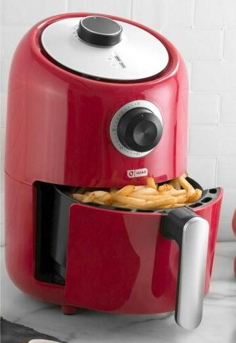 compact 2 quart air fryer in red