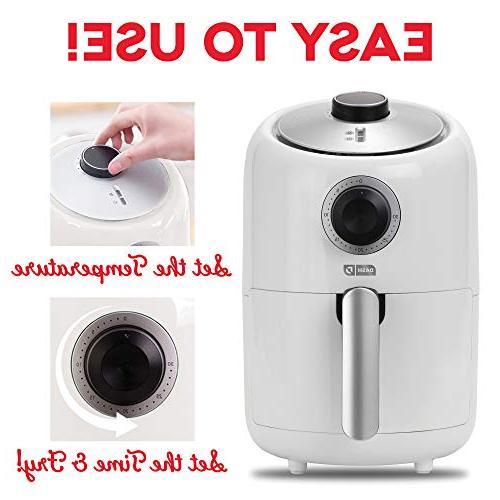 Dash Compact 1.2 L Electric Air Fryer Oven Temperature Control, Non Fry Recipe Guide + Feature White